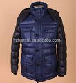 sıcak satış moda kış siyah ve mavi aşağı dolu kapüşonlu erkekler için ceket