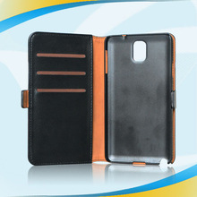 Top quality professional flip leather case zipper wallet cover for note3