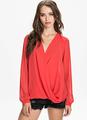 2014 New Women Red roupas manga comprida Drape Chiffon Sheer camisa