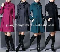 Fashion Korean Hot Women Slim Wool Cashmere Winter Long Hooded Jacket Coat