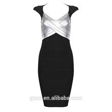 wholesale black and gold foil printed bandage dress knee length