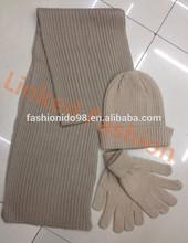 fashion sexy lady's cashmere knit scarf glove and hat set achecol bufanda infinito bufanda by Real Fashion