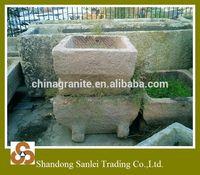 antique square limestone trough for flower pot