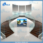 Modern steel curved stairs / staircase arc stair glass balustrade
