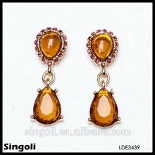 Coffee color crystal drop earrings chandelier dangle earrings wholesale expoy resin stud earrings