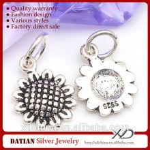 XD PH9382 bracelet making sunflower 925 sterling silver charm pendant
