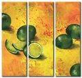 handmade decoração home frutas laranja 3 painel grupo pintura a óleo sobre tela