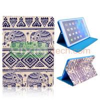 Tribal Elephant Pattern for iPad Air Folio Stand TPU+PU Leather Case