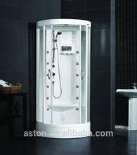 """Aston 37""""x37""""x87.6"""" indoor corner sauna bathroom with built-in seat"""