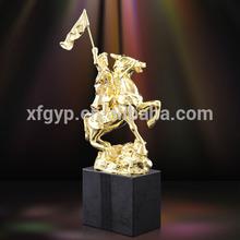 Superhero with swift horse metal trophy statue, warrior figures