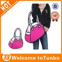China online shopping new cartoon hot 3d jump style 3d handbag