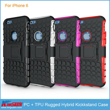 Factory price PC + TPU Rugged Hybrid Kickstand shockproof phone cover case for iPhone 6