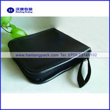PU leather CD case with zipper closure