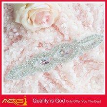 Custom design welcomed fashion shinny crystal beaded Wedding dress trim rhinestone silicone watches women geneva silicone