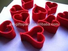 2015 fashion hot sales handmade craft hollow red gift wholesale decorative tree cut slightly felt heart shape christmas ornament