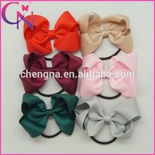 Hot Sale Elastic Hair Band Solid Color Ribbon Bow Girl headband hair accessories (CNEHB-14061949)