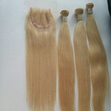 Hot Sale China Supplier 6A Grade 4x4 bleached knot 100% russian virgin hair lace closure colored 613# blonde