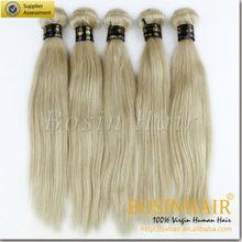 Wholesale 5A grade silky straight hair weaving blonde