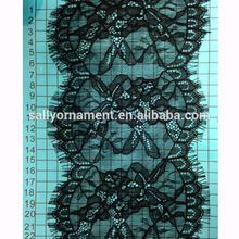 Flower shape lace trim ecru wedding decorative eyeash lace trim