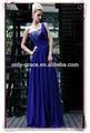 ruffle um ombro azul royal chiffon comprimento andar vestido de baile gl086
