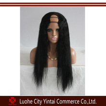 Factory price yaki straight long human hair middle u part wigs,100% Brazilian virgin hair cheap U part wigs