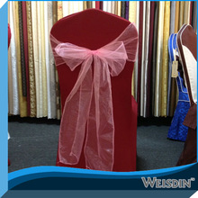 organza sash and red wedding chair cover