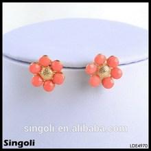 Orange sunflower earrings wholesale epoxy resin ball acrylic bead earrings simplicity gold jewelry