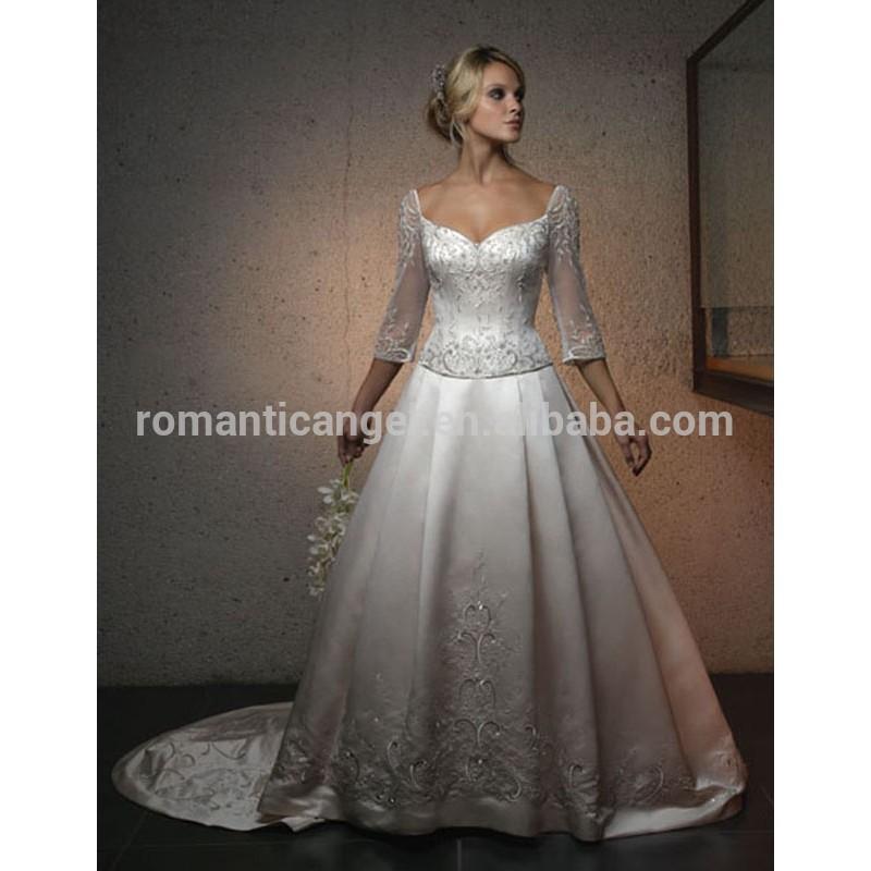 Elaborada bordado princesa Lace mangas compridas vestido de noiva tradição