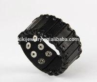 Fashion black leather snap button spanish leather bracelets