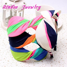 Yiwu rinhoo large striped fabric bow hair bands headband adult hair accessories for girls