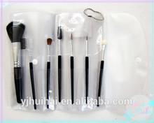 Lady 7pcs professional cosmetic makeup tools/ 7pcs black long handle soft makeup brush set in a transparent bag