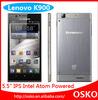 """high quality original 5.5"""" Lenovo K900 Intel Atom Z2580 2048MHz dual core 2G RAM+16G ROM dual cameras android phone"""