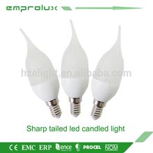 new 220v plastic and aluminum warm white led candle lighting