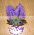 fábrica de mujer 2014 púrpura de plumas de avestruz máscara mascarada de carnaval chiristmas la mujer la mitad de la cara para todos y la fiesta del festival