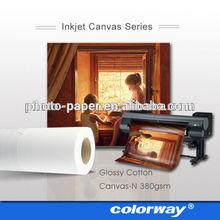 inkjet glossy cotton canvas 380gsm waterproof Pure Cotton Inkjet Canvas Rolls