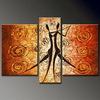 Decorazioni per la casa fatti a mano opere d'arte donna che balla 3 pannello gruppo di pittura a olio su tela