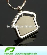 Rotatable house shape key chain metal