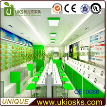 QE10080 Custom made cost effective mobile phone shop decoration with unique 3d design