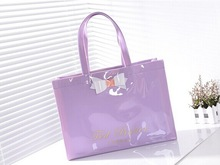 bulk reusable custom purple patent shopping bag with bowknot china supplier