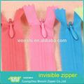 Moda extremo abierto de cremallera de nylon invisible para venta al por mayor, para el bolso/prendas de vestir/vestido