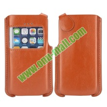 New arrival Magnetic Buckle Caller Display Leather mobile phone pouch for iPhone 5 5C 5S