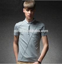 2014 Men's short sleeve printing edge and fold polo shirt
