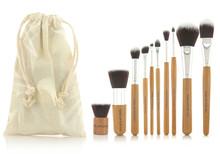 2014 meilleur maquillage professionnel de cheveux synthétiques Brush Set 10 pcs bambou poignée maquillage pinceaux