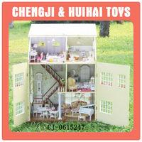 Hot sales kids mini diy wooden doll house furniture set intelligent kits