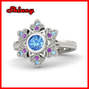 925 sterling silver bezel setting colorful cz paved bling christmas snowflake sterling silver ring