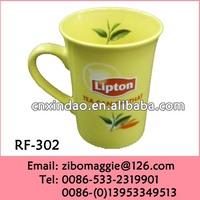 12oz Ceramic Coffee Mug and Tea Mug with Lipton Design for Cheap Ceramic Mug