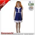 frente de algodão elastano botão de uma linha de vestido de malha para as meninas