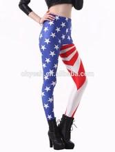For My Football Team America Flag Print Polyester Spandex Leggings