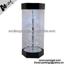 With lights Locking Electric Rotating Showcase Acrylic Jewelry Display Furniture