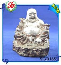 SGB185 Antique Resin Laugh Pose Onyx Buddha Statue